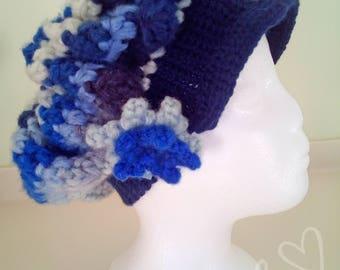 Womens crochet hat, Brimmed hat, Blue, Winter Hat