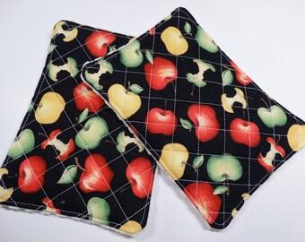 Set of 2 - Kitchen Unsponge -  Washcloth - Reuseable - 100% cotton - Eco Friendly - Large - Apples