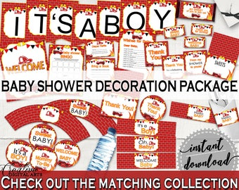 Decorations Baby Shower Decorations Fireman Baby Shower Decorations Red Yellow Baby Shower Fireman Decorations digital download LUWX6