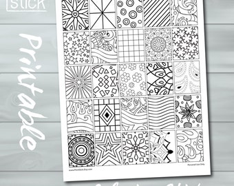 Erin Condren Coloring Stickers - PRINTABLE Box Stickers. Get creative and relax coloring these cute stickers!