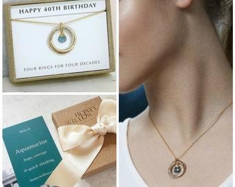 40th birthday gift, March birthstone necklace, gift for 40th birthday, aquamarine necklace, March birthday gift - Lilia