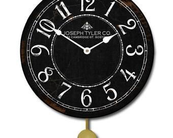 Black & White Pendulum Wall Clock