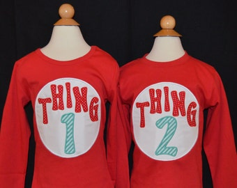 Personalized Cousin 1 or Cousin 2  or Cousin 3...Thing 1 or Thing 2 or Thing 3... Applique Shirt or Bodysuit Girl or Boy - 1 SHIRT