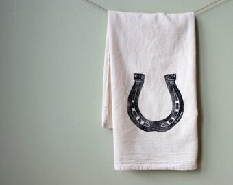 Flour Sack Towel- Horseshoe- Cotton Equestrian Kitchen Towel