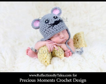 Baby Mouse Hat, Newborn Mouse Hat, Crochet Baby Mouse Hat, Baby Girl Mouse Hat, Crochet Unique Photo Prop