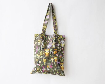 Colorful owls print cotton tote bag
