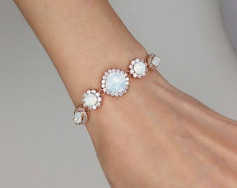 cz opal crown sterling bracelet tennis white jf jewelry silver bling sterlng gemstone
