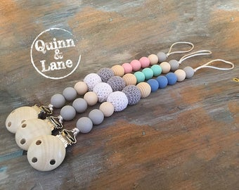 Silicone Teething Pacifier Clip with Wood & Crochet Beads - Bite Beads Soother Clip - Chew Toy - Baby Toddler Teething Toy - Chew Baby Beads