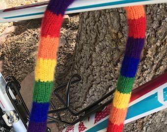 Pride Flag Themed Hand Knitted U-Lock Bike Cover