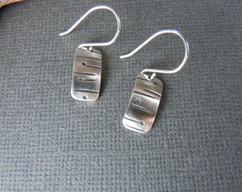 Line and Dot Rectangle Brushed Silver Earrings