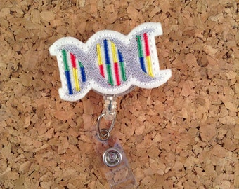 DNA Badge Reel,  ID Badge Reel, Laboratory Felt Badge Reel, Retractable Name Holder, Medical Badge,  963