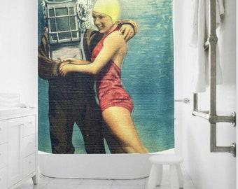 Beach Art Shower Curtain, Coastal Shower Curtain, Mid Century Bathroom, Scuba Dive, Fabric Shower Curtain Beach Bathroom Decor, Spa Bathroom