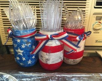 Set of Three Patriotic Pint Jars