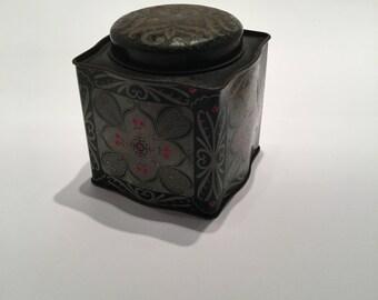 Vintage 1970s Black and Silver Square Tea Tin - Vintage Christmas Gift