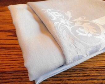 "Vintage Tablelcloth / Powder Blue Satin Damask / 78"" x 62"" / Something Blue Wedding"