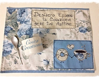 Romantic placemat for breakfast with dedication of love