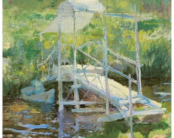 Hand-cut wooden jigsaw puzzle. WHITE BRIDGE. JH Twachtman. Impressionist. Impressionism. Wood, collectible. Bella Puzzles.