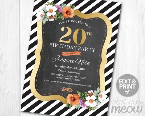 20th birthday invitation stripe elegant gold dinner party filmwisefo Images