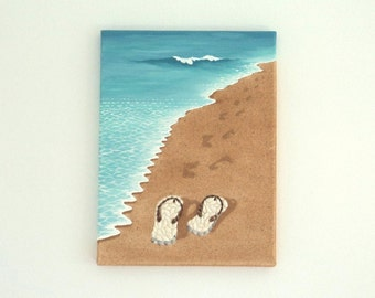 Acrylic Painting, Beach Artwork with Seashells and Sand, Picture of Flipflops & Footprints in Seashell Mosaic, Mosaic Art, 3D Art Collage
