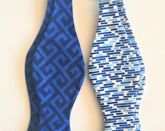 Blue Bow ties:  Greek Keys, Blue Dashes.  Self tie or Pre-Tied.  Dapper, Hipster, Geek.  Unique additions to any wardrobe. Gift for him.