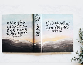 Hand Painted Bible // Mountain Sunset Theme