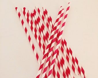 Red & White Stripe Paper Straws