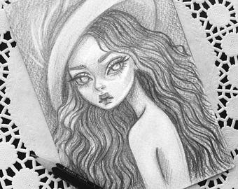Original art in the format of a postcard. Lady in the Hat.