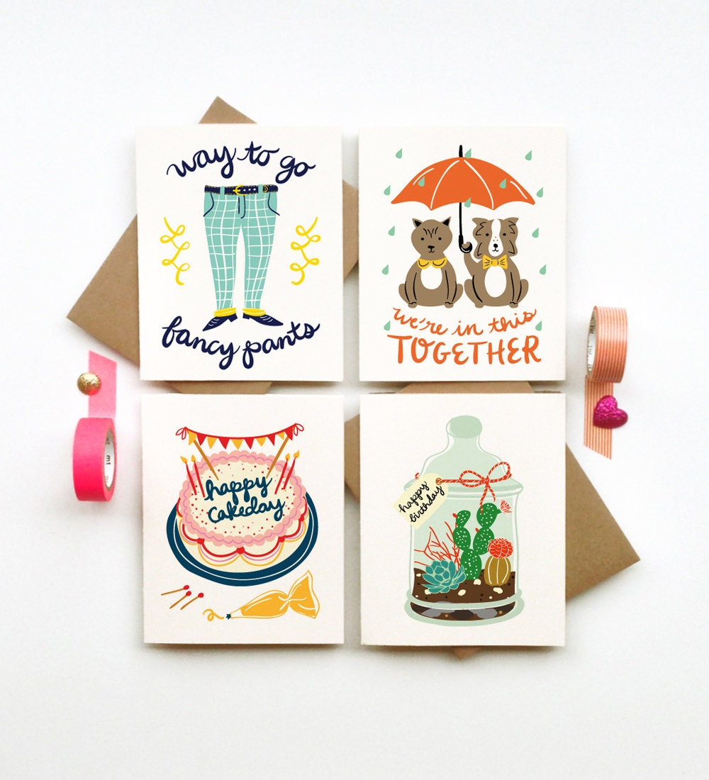Buy 3 Get 1 FREE Greeting Cards Stationery Calligraphy