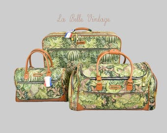 American Tourister Tapestry Suitcase Set Vintage Weekender Travel Bag Lot ~ Retro Carryall Luggage