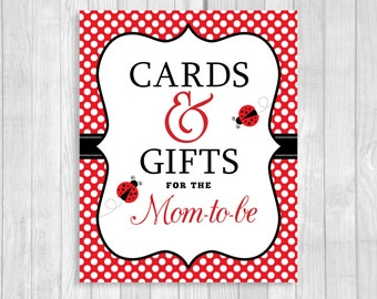 Cards and Gifts for the Mom-to-Be 5x7 or 8x10 Printable Girl's Ladybug Baby Shower Sign in Red and White Polka Dots - Instant Download