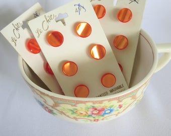 Orange Buttons, Vintage Buttons, Button Card, Buttons on Card, Vintage, Buttons, 6, Le Chic, 7/16, Sewing