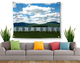 Adirondack Tapestry-Landscape Tapestry-Lake Wall Decor-Fabric Wall Hanging-Mountain Wall Decor-Fine Art Tapestry-ADK-Outdoor Tapestry-ADKS