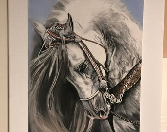 Gift Idea horse made with technique Carbothello pencils and pastels soft 30x40 you realize all custom pictures