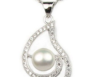 White natural pearl pendant, real freshwater pearl pendant necklace, 925 sterling silver pendant pearl charm, 7-8mm, F2685-WP