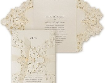 Elegant Floral Shimmer Laser Cut Wedding Invitation