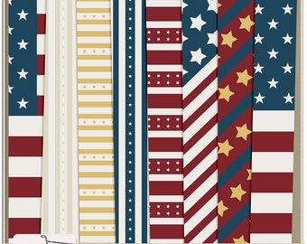4th of July Clipart Independence Day Digital Papers Commercial Use, Instant Download