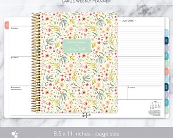 8.5x11 weekly planner 2018 2019   choose your start month   12 month calendar   LARGE WEEKLY PLANNER   meadow floral
