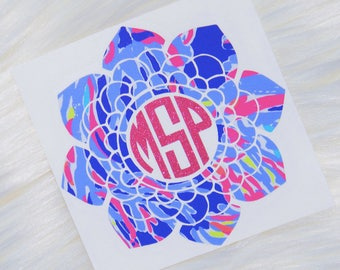 Floral Mandala Monogram Personalized Vinyl Decal - Lilly Pulitzer Inspired