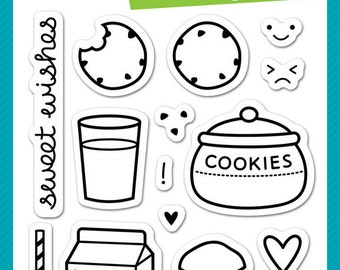 Lawn Fawn Milk and Cookies Photopolymer Clear Stamp Set, Scrapbooking/Stamping/Paper Crafts