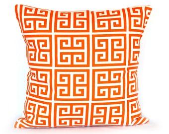SALE Orange Pillow Greek Key Lumbar Pillow Cover throw pillows home decor decorate pillow cushion cover 12x18 inches