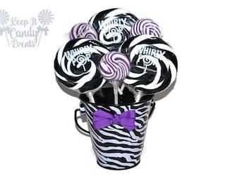 Small Zebra and Purple Lollipop Centerpiece, Sweet Sixteen Centerpiece, Bridal Shower Centerpiece, Zebra , Baby Shower Centerpiece