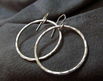 Argentium silver hoop earrings