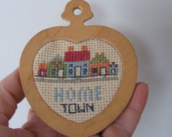 Cross Stitch Home Town Heart Ornament Wall Hanging