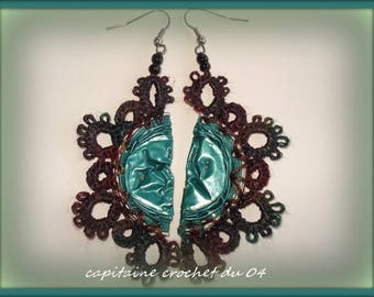 Green earrings / earrings/jewelry woman/lace tatting/handmade jewelry has the needle