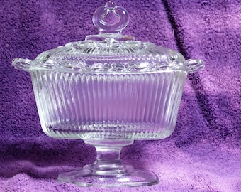 Vintage Indiana Glass Oblong Candy Dish and Cover