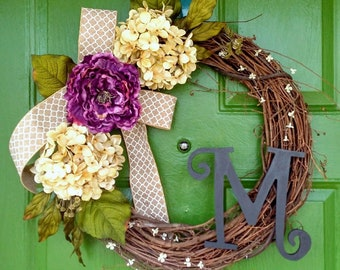 Spring Wreath-Spring Door Wreath-Spring Monogram Wreath-Rustic Spring Wreath-Spring Door Decor-Spring Wreaths-Peony Wreath-Hydrangea Wreath