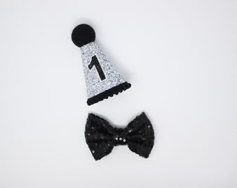 Dog Birthday Party Hat and Bow Tie | Dog Party Hat | Pet Birthday Hat | Pet Puppy Cat Kitten Kitty Pig Birthday Crown | Silver and Black
