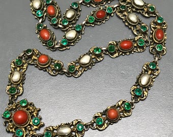 Antique Victorian Necklace . Gold gilt Silver  . Coral . paste . Pearl .  Austro Hungarian Jewelry