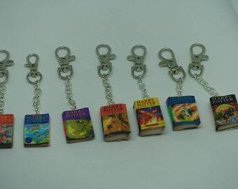 Mini Harry Potter book charm on a key chain