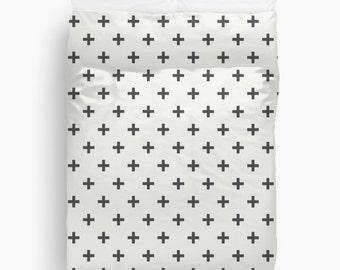 Duvet Cover White Black Swiss Cross Scandinavia Clean Lines Design Twin Twin XL Full Queen King Bedspread Bedding Hipster Dorm Decor